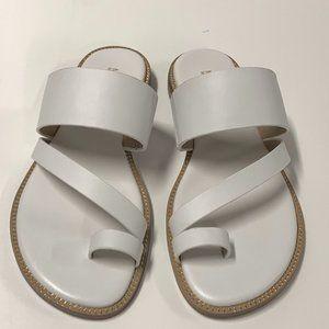 Michael Kors Pratt Flat Leather Sandal Optic White